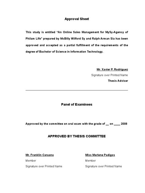 Endorsement Letter For Thesis Thesis Document Letters Bachelor Of Science Thesis