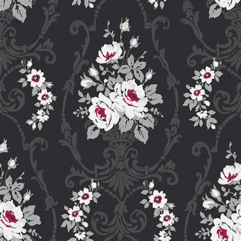 black and white damask wallpaper uk black white red silver grey 617500 darcy floral