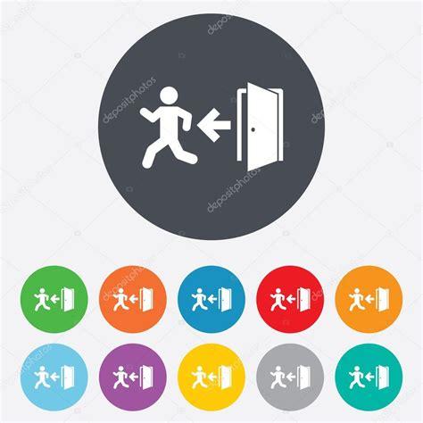 emergency exit icons door with arrow sign stock vector emergency exit sign icon door with left arrow stock