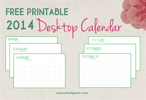 desktop calendar template free printable 2014 desktop calendar