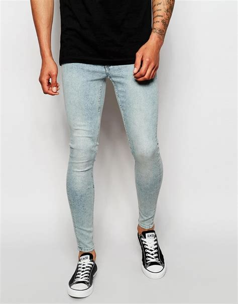 light blue super skinny jeans mens cheap monday jeans low spray extreme super skinny fit