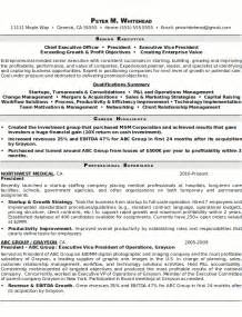 Senior Management Resume Templates by Exle Cv 50 Creative Writing Across The Curriculum