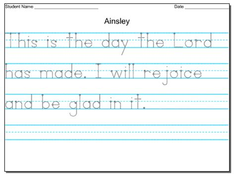 worksheets handwriting hand writing