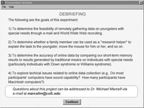 debrief template psychology data collection with special populations the