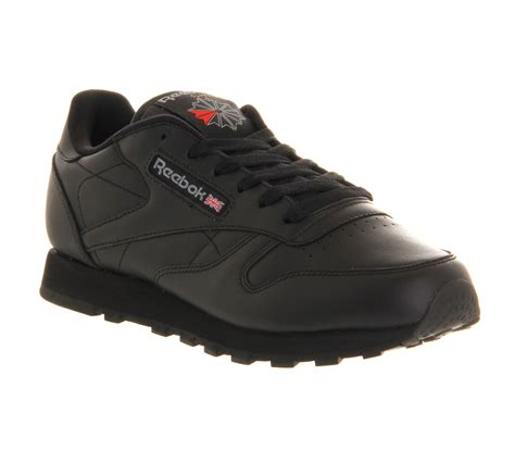 Reebok Classic Black Original womens reebok classic leather w black leather trainers shoes ebay