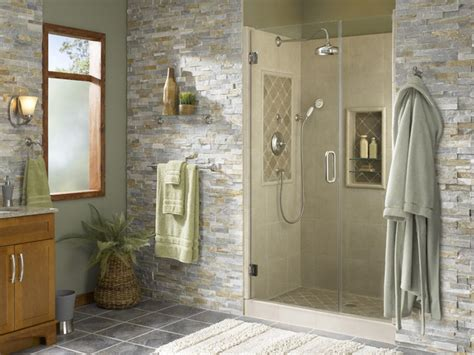 bathroom alcove ideas shower alcove with accents tropical bathroom