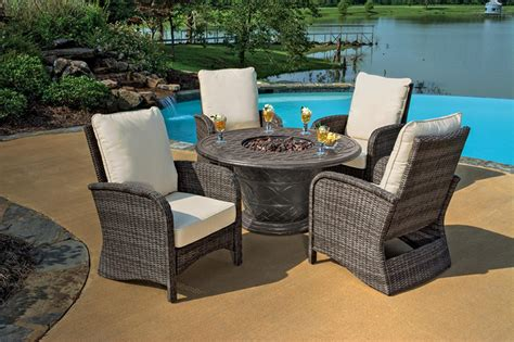 pit patio furniture sets 5 portico wicker patio chair and cast aluminum gas pit outdoor furniture set beige