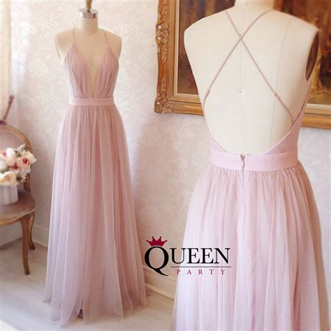 Spaghetti Tulle Dress pink tulle low v neck spaghetti prom gown