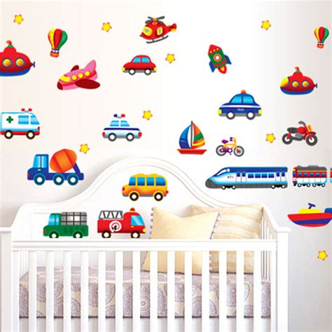 Aliexpress Com Buy Cartoon Cars Trucks Vehicles Wall Car Wall Decals For Nursery