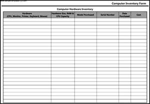 pc inventory template computer hardware inventory form template sle templates