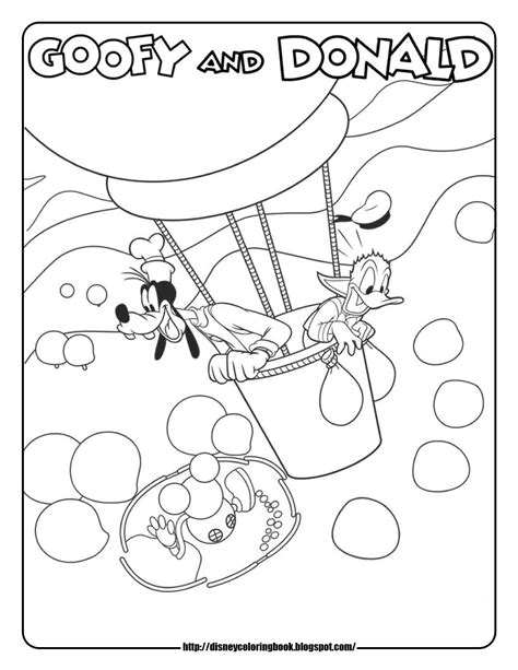 Mickey Mouse Coloring Pages Goofy Donald Hot Air Balloon Mickey Birthday Coloring Pages