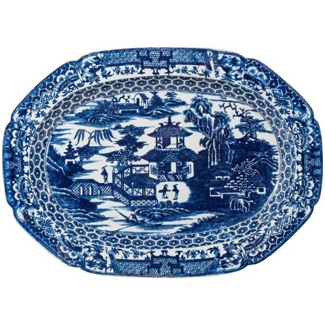 english willow pattern late 18th century english blue and white platter with the
