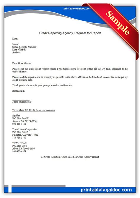 Report Card Request Letter Free Printable Credit Reporting Agency Request For Report Form Generic