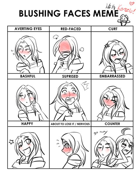 Blushing Memes - blushing faces meme with kenzie by animaloftheelements on