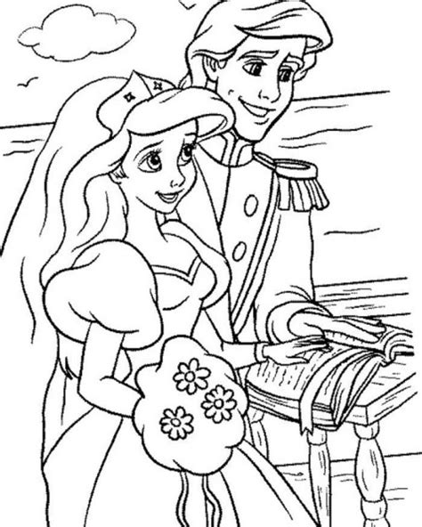 Ariel And Eric Wedding Coloring Pages Sketch Coloring Page Princess Ariel And Eric Coloring Pages Printable