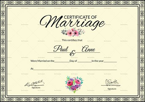 Marriage Certificate Design Template In Psd Word Marriage Certificate Template Microsoft Word