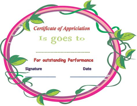 outstanding performance certificate template certificate of appreciation for outstanding performance