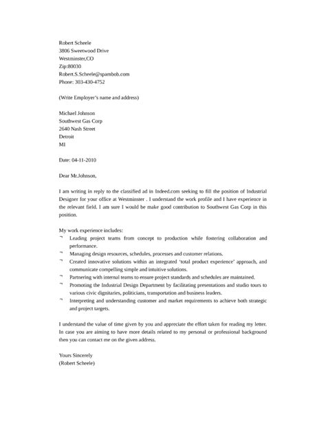 design cover letter job