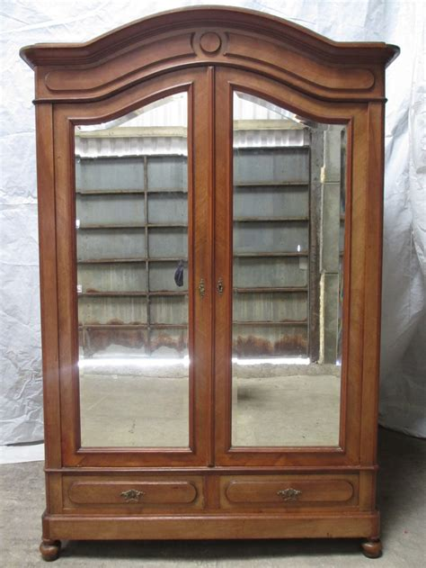 mirror armoire wardrobe 19th century walnut oak backed french mirror 2 door