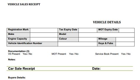 vehicle sales receipt template car sales invoice template uk invoice exle