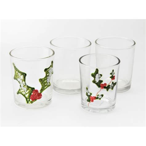 4 Glass Candle Holders by Glass Candle Holders For Decorating Glass Painting