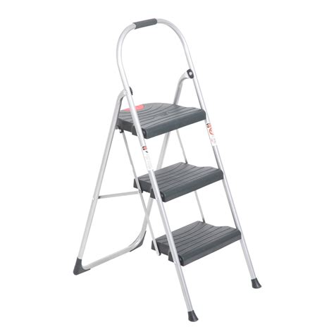 Werner 3 Step Steel Step Stool With Tray by Shop Werner 3 Step 225 Lb Gray Steel Step Stool At Lowes