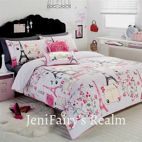 eiffel tower bedroom set details about paris chic eiffel tower white pink grey