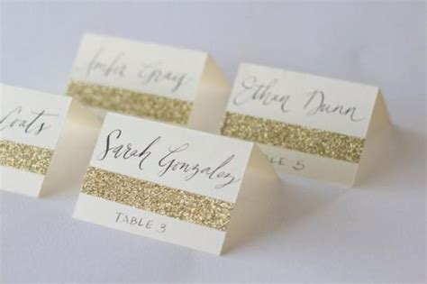 how to make table name cards glitter cards with custom calligraphy for wedding