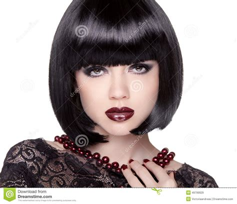 white girl bob haircut v woman face on black background cartoon vector