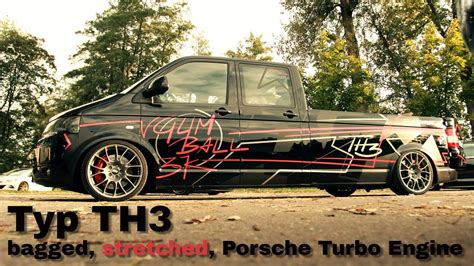 Vw T5 Motorradtransport by A Bagged Stretched Vw T5 With Porsche Turbo Engine
