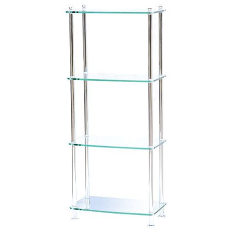 Glass Etagere Bookcase 4 shelf modern glass and chrome etagere 75 ebay
