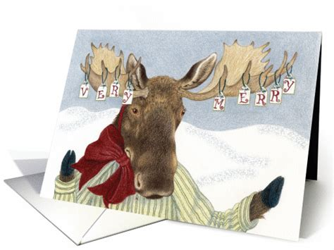 moose wishes  merry christmas card