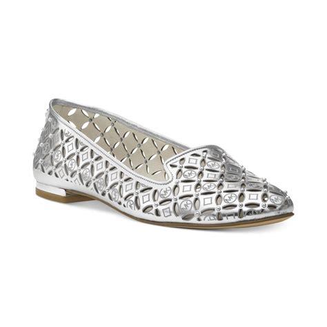 michael kors flat shoes michael kors michael gabriella flats in metallic lyst