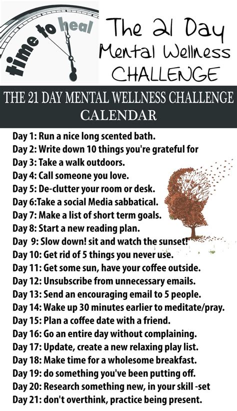 the health challenge the 21 day mental wellness challenge home tips