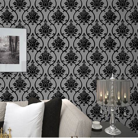 black velvet flock wallpaper luxury damask wall paper