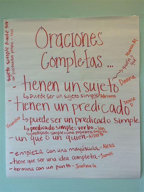 cuarto in a sentence sujeto y predicado cuarto grado anchor charts in spanish
