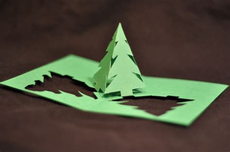 Diy Papercraft Pop Up Card Teddy Natal simple pyramid tree pop up card template