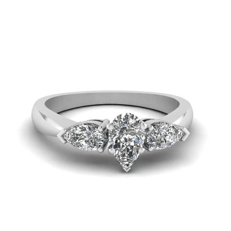 pear shaped 3 engagement ring in 14k white