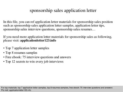 Letter For Sponsorship Sle Sponsorship Sales Application Letter