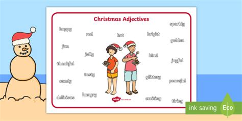 christmas words that start with n australian adjectives word mat vocabulary spelling