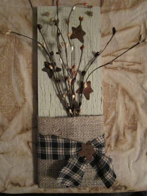 diy primitive home decor primitive burlap and pip berry wall hanger 9 50 via