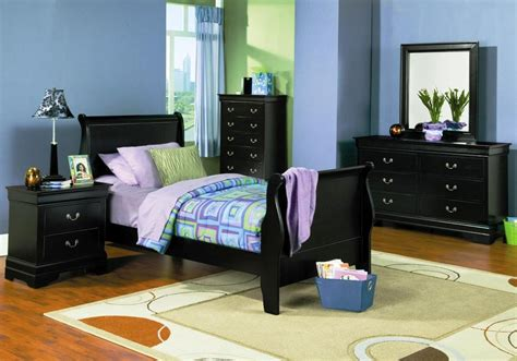 black sleigh bedroom set louis philippe black youth sleigh bedroom set from coaster