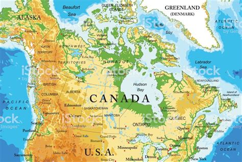 map of usa canada and alaska physical map of canada stock vector more images of