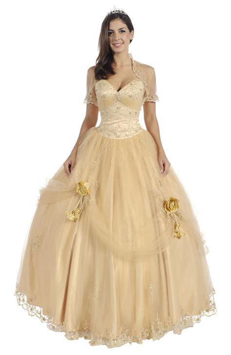 gold color dress gold dresses gold quinceanera dress bolero strapless