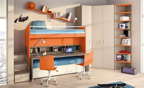 space saving kids bedroom bed desk combos save space and add interest to small rooms