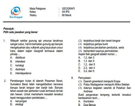 kunci jawaban ujian sekolah bahasa indonesi 2015 2016 download prediksi soal un sma geografi paket a dan kunci