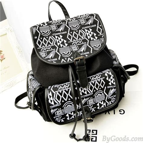 Embroidery Canvas Backpack vintage folk style embroidery geometry canvas backpack
