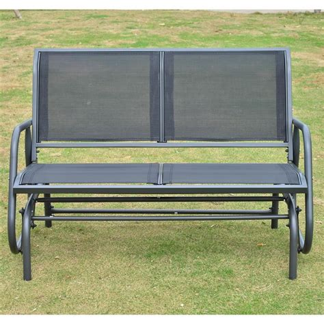black glider bench outsunny 48 quot outdoor patio swing glider bench chair black