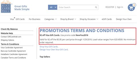 Gift Card And Promotional Code - 2 off visa gift cards purchased from gift card mall promo code newyou2016