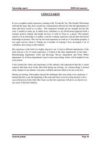vivanta by taj internship report